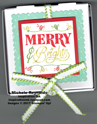 Festive phrases merry & bright pizza box watermark