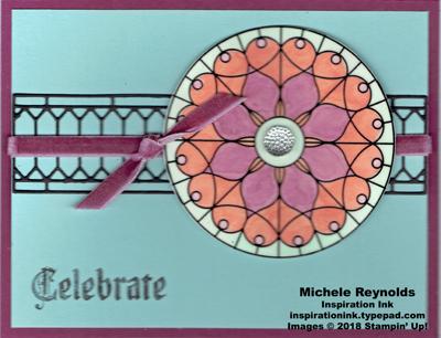 Painted glass rose window celebrate watermark