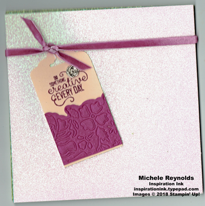 Crafting together embossed floral tag watermark