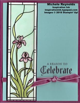 Painted glass iris glass panel watermark