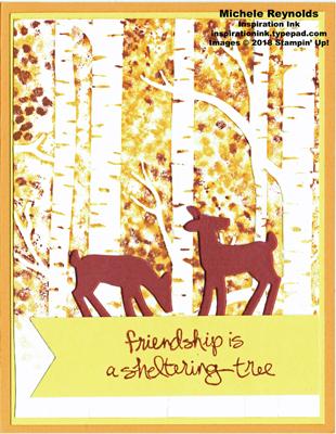 Sheltering tree deer in woods watermark