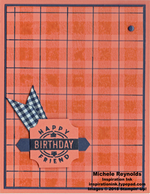 Darling label punch box grapefruit navy birthday plaid watermark
