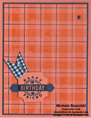 Darling label punch box grapefruit navy birthday plaid watermark