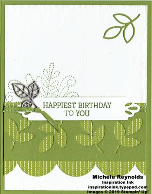 Needle & thread olive leaves birthday watermark