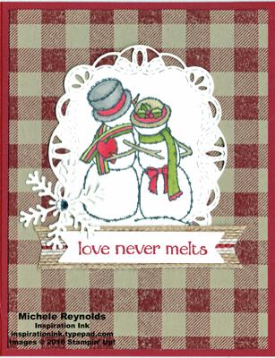 Spirited snowmen plaid love watermark