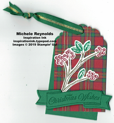 Toile christmas plaid holly tag watermark
