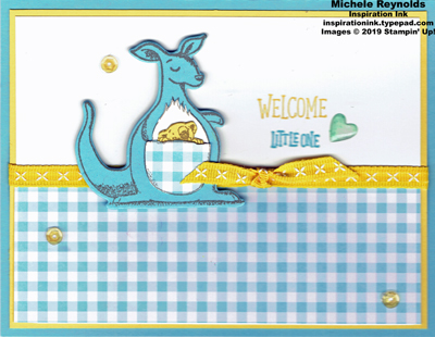 Animal outing gingham kangaroo watermark