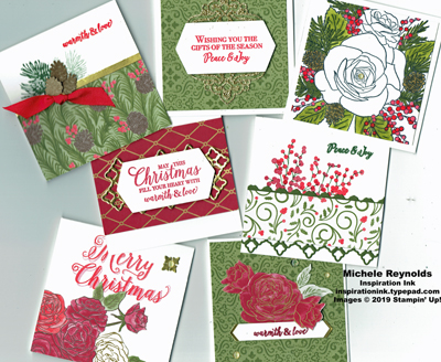 Christmas rose gift card notes watermark