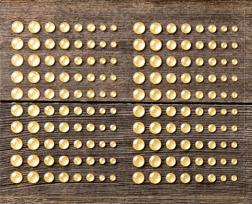 Gold glitter enamel dots