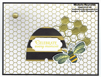 Honey bee golden honeycomb watermark