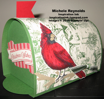 Toile christmas mail box front and cardinal side