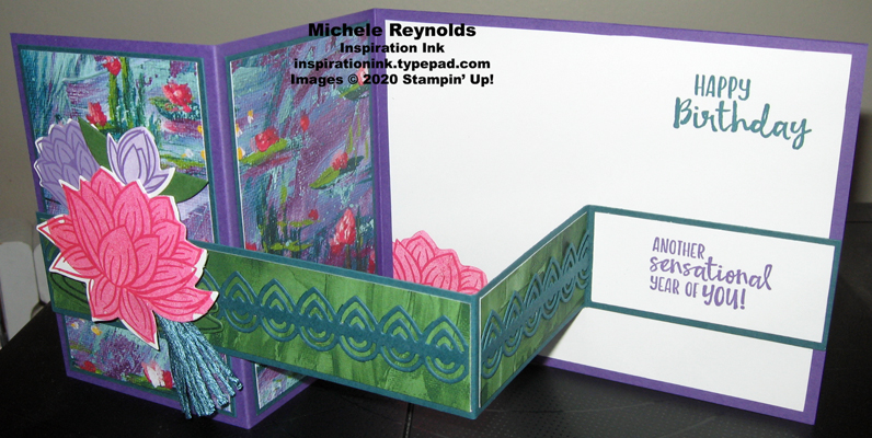 Lovely lily pad box fold card open