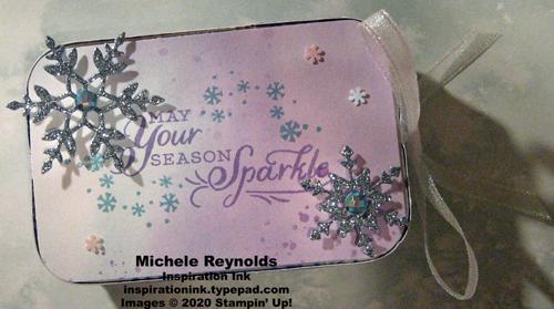 Snowflake wishes sparkle rectangle tin watermark