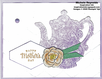 Tea together floral purple teapot watermark
