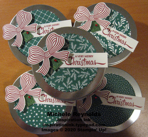 Gift wrapped peppermint candy tins